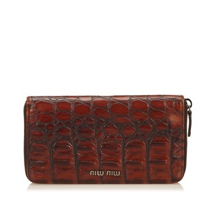 Miu Miu Brown,leather,long Wallets,others,6emmco001