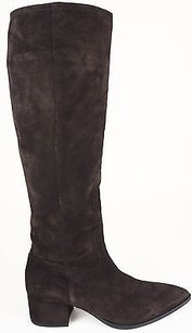 Miu Miu Baggy Suede Pointy Toe Zip Up Knee High Eu Brown Boots
