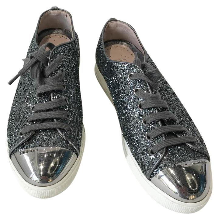 miu miu Gris  glitter crystal précieuse pac orteil apparteHommes 6 ts ordinaires (baskets taille 6 apparteHommes m, b) eb802f