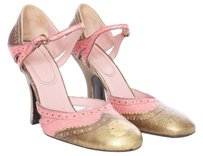 Miu Miu Leather Chunky Spectators Pink and Gold Pumps