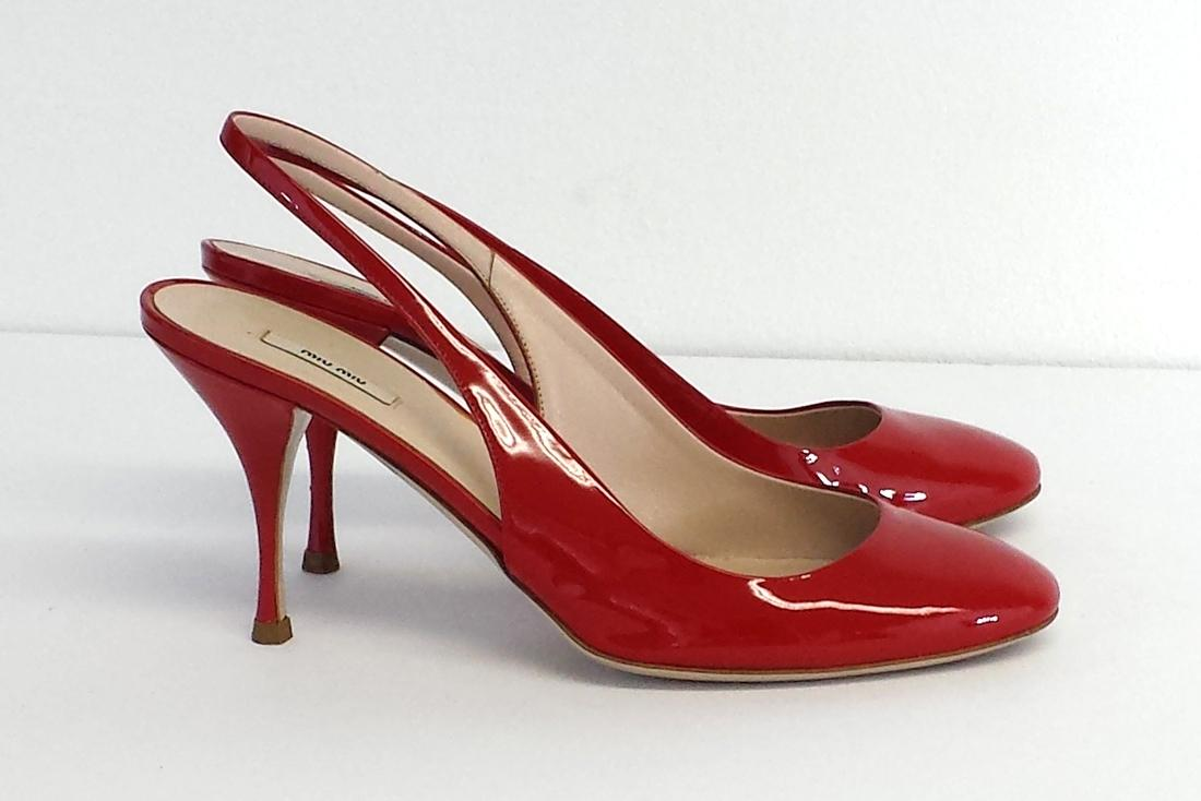 Miu Miu Red Patent Leather Slingback Heels Pumps Size US 6.5 - Tradesy