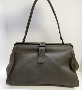 Miu Miu Italy Canvas Vintage Framed Satchel in Green