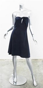 Miu Miu short dress Blue Womens Navy Cotton Strapless Short Flair on Tradesy