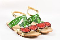 Miu Miu Green Red Gold Multi-Color Sandals