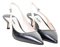 Miu Miu Mui Mui Metallic Silver Black Pumps