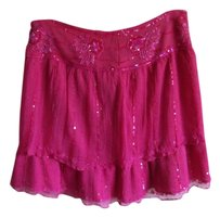 Moda International Beaded Sequins Silk Flowy Fun Mini Skirt pink