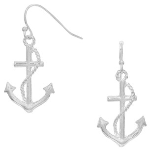 Anchor Drop Earrings In silver-tone