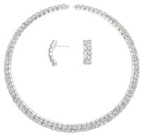 Modern Edge Crystal Rhinestone Cuff Choker Necklace