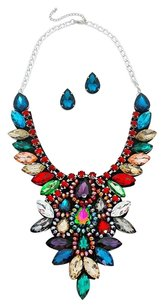 Modern Edge Felt back crystal rhinestone bib evening necklace