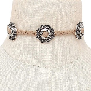 Modern Edge Floral metal deco twisted faux suede choker necklace