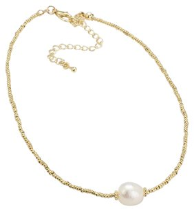 Modern Edge Freshwater pearl accented metal bead strand choker necklace