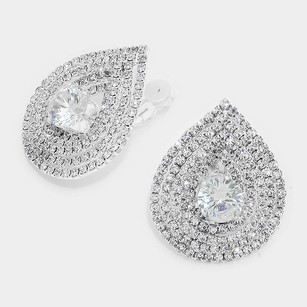 Modern Edge Teardrop Crystal Clip On Earrings