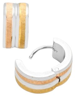 Modern Edge Two tone hypoallergenic stainless steel metal huggie hoop earrings