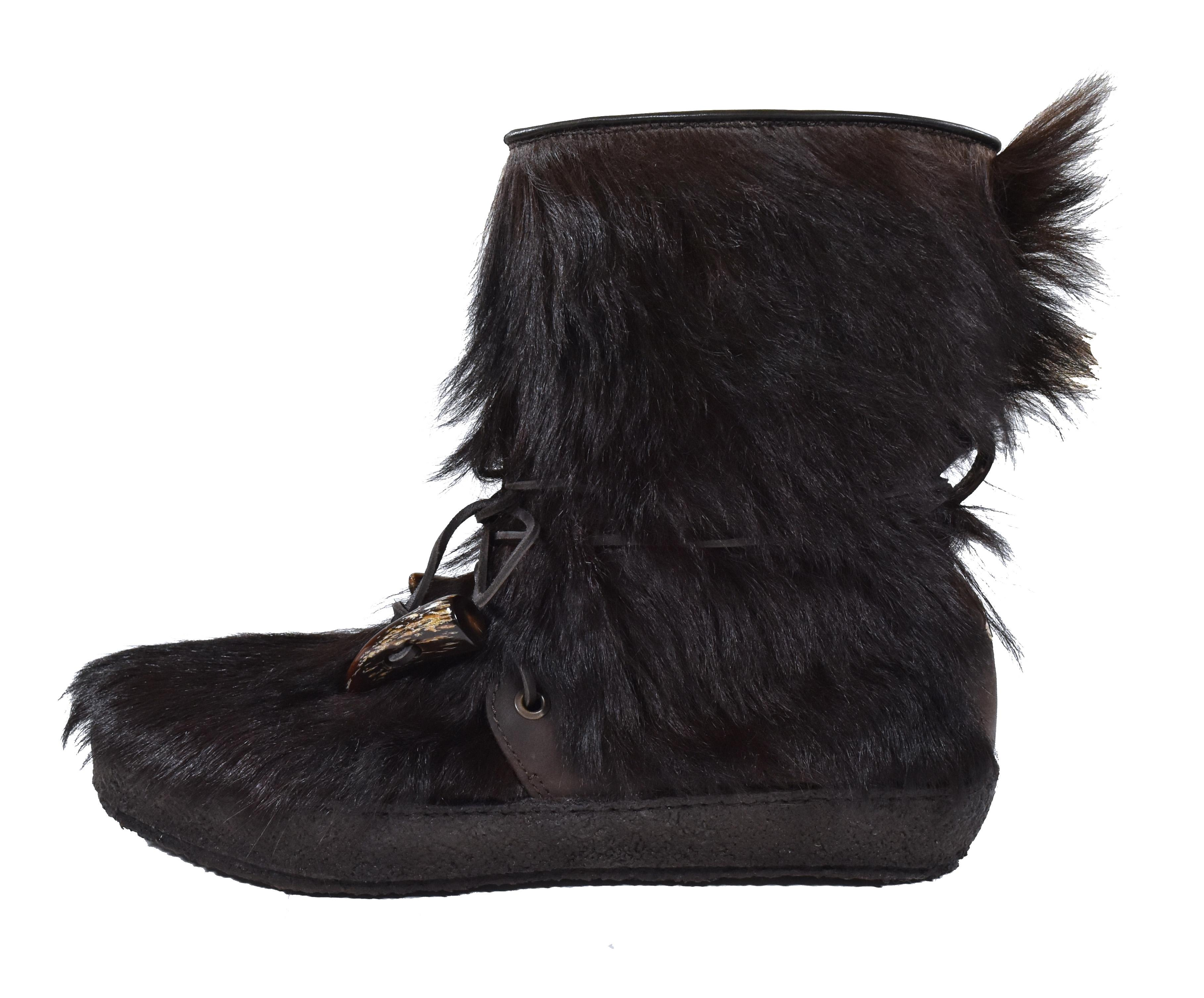Moncler Brown Men's Fur Leather Clusone Ankle 9/42 New Boots/Booties Size US 9 Regular (M, B)