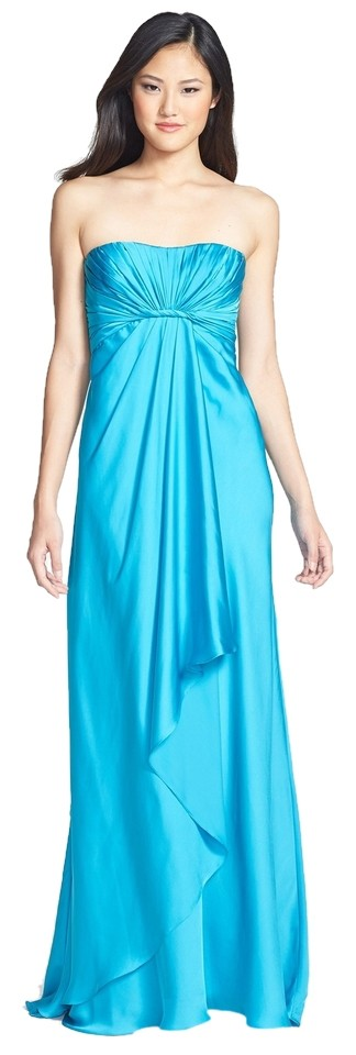 Monique Lhuillier Turquoise Blue Strapless Gown Dress 65