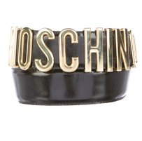 Moschino Black leather Moschino gold tone letter charms belt XS