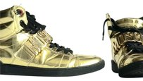 Moschino Sneakers Leather Buckle Gold Athletic