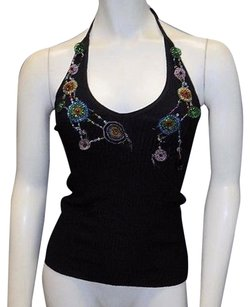 Moschino Embellished Black Halter Top