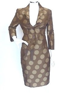 Moschino Moschino Brown-tan Polka Dot 2pc Skirt Suit 2-4 38-40