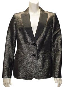 Moschino Moschino Cheap And Chic Metallic Gray Wool Blend Button Blazer Hs954