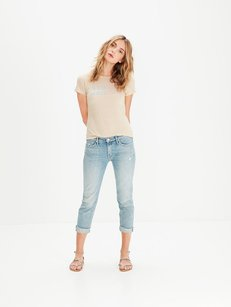 Mother Blue Dropout Fray Boyfriend Cut Jeans