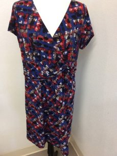 Motherhood Maternity Motherhood Maternity Dress Stretch Poly Multicolor Print Black Red Blue