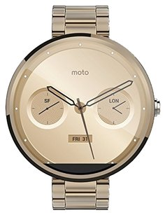 Motorola Motorola Mobility Moto 360 Androidwear Smartwatch for Android Devices 4.3 or Higher - Champagne Gold Metal - 18mm