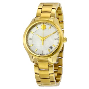 Movado Bellina Silver Dial With White Mother Pearl Yellow Gold Ladies Watch