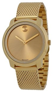 Movado Bold Gold Dial Gold Ion-plated Mesh Watch 3600242