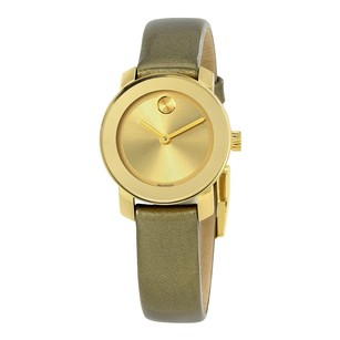 Movado Bold Gold Dial Gold Leather Ladies Watch MV3600339