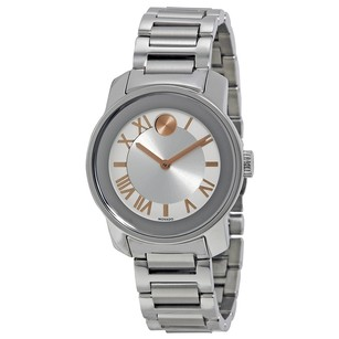 Movado Bold Silver Dial Stainless Steel Band Case Ladies Watch MV3600244