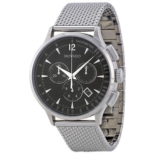 Movado Circa Chronograph Black Dial Stainless Steel Mesh Men' Watch MV0606803