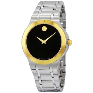 Movado Movado Black Dial Two-Tone Mens Watch