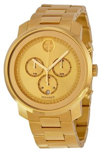 Movado Movado Bold Champagne Dial Yellow Gold Ion-plated Mens Quartz Watch