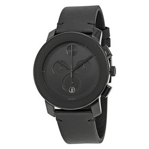 Movado Movado Bold Chronograph Black Dial Black Leather Band Mens Quartz Watch