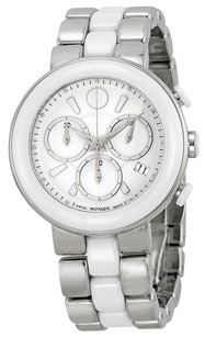 Movado MOVADO Chronograph White Dial White Ceramic Ladies Watch MV0606758