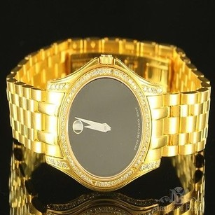 Movado Movado Genuine Diamond Watch Hers Kc Swiss Elegant Black Dial Golden Steel Swiss