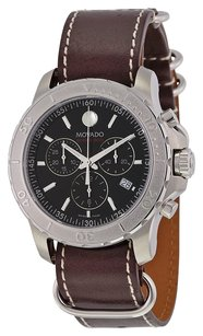 Movado Movado Series 800 Chronograph Black Dial Brown Leather Mens Watch