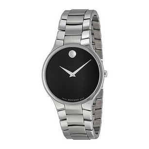 Movado Movado Serio Black Dial Stainless Steel Mens Watch