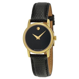 Movado Museum Black Dial Black Leather Ladies Watch MV2100006