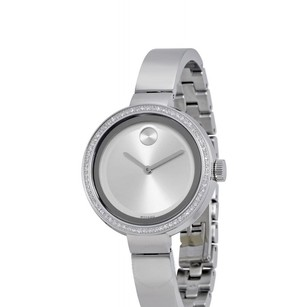 Movado Diamond Pave Bezel Silver Stainless Steel Bangle Dress Watch