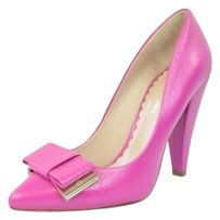 Mulberry Womens Leather Dark Bow Pointed Toe High Heel Classic Pinks Pumps