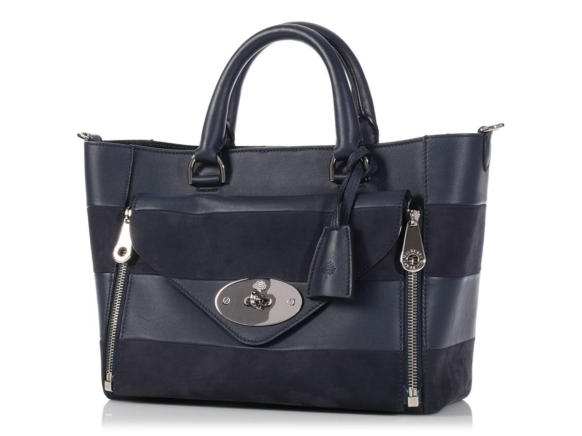 ... cheap mulberry midnight willow navy blue leather tote tradesy b17bd  cd0d8 07af917838215