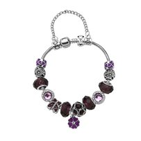 Murano Mixed Charms Murano Glass and European Charms Purple Floral Bracelet