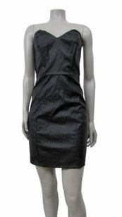 Myne Ashley Ann Faux Leather Strapless Dress