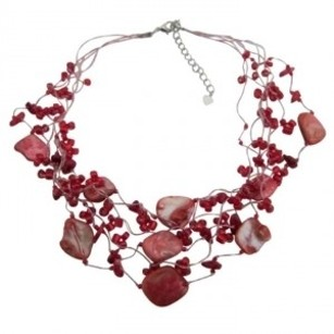 Red Beads Coral Shell Necklace N106 & Multistring Other