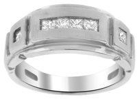 10K WHITE GOLD 0.65CT DIAMOND MEN'S RING SIZE 10