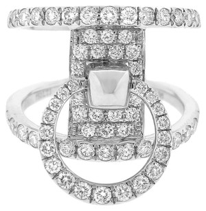 1.36CT DIAMOND 18K WHITE GOLD DOUBLE RING SIZE 7