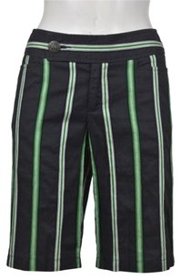 Nanette Lepore Womens Striped Bermuda Casual Cropped Trousers Shorts Navy