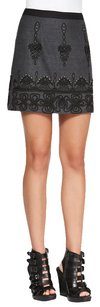 Nanette Lepore Cord Beaded Embroidered Mini Skirt Charcoal Grey